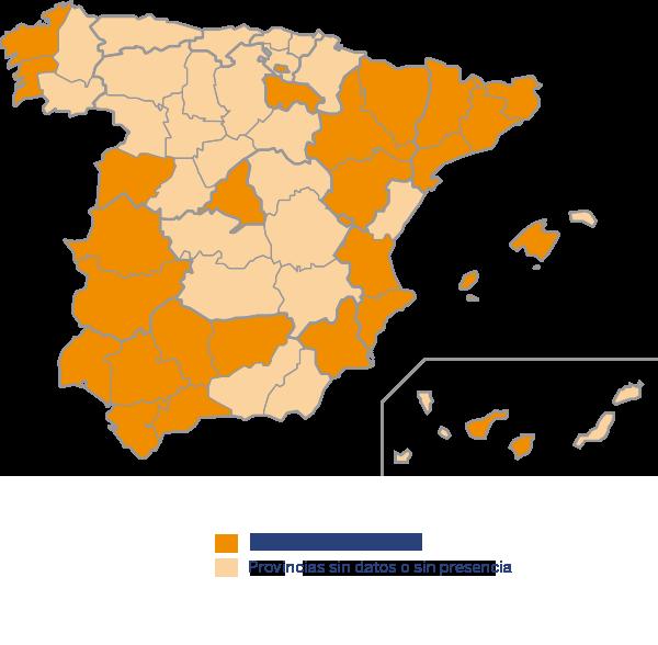 Mapa de distribución de Dirofilariosis