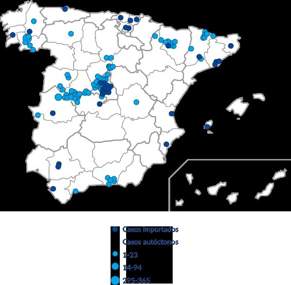 Mapa de distribución de casos registrados de Thelaziosis